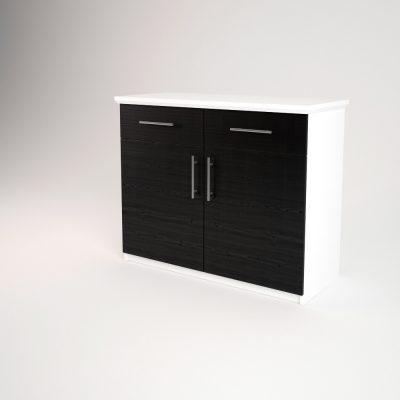 Comoda TV lemn Alb + Negru