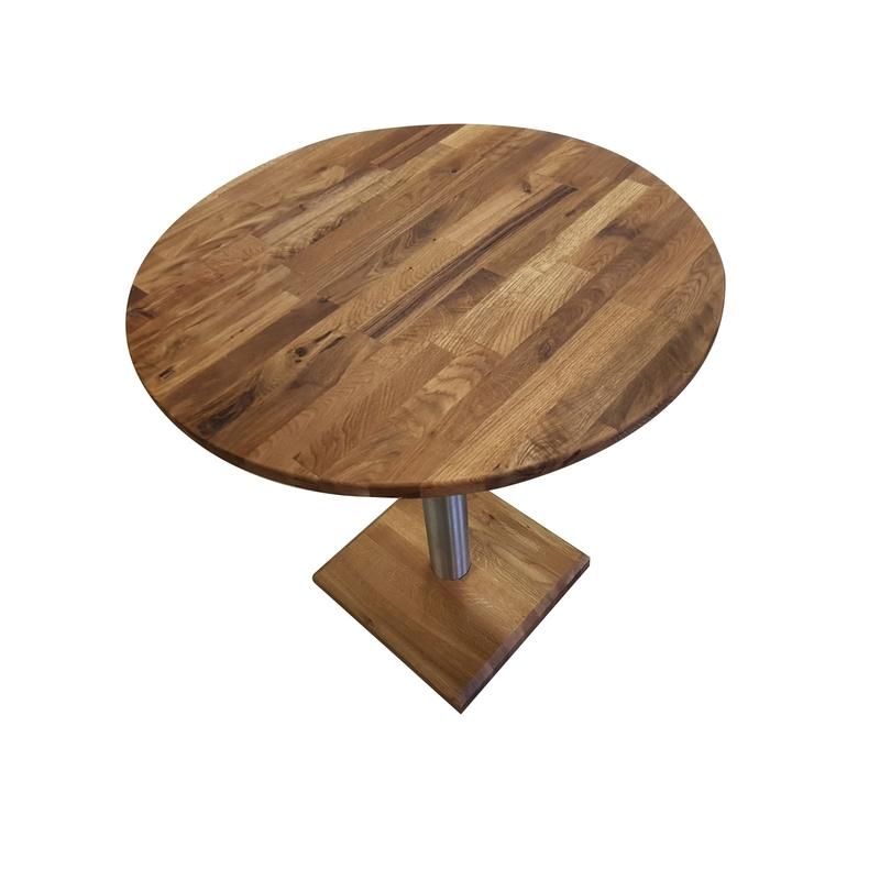 Masa Karla, lemn masiv stejar, 70x70x75