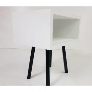 Noptiera Future, lemn, alb + wenge, L50xl40xh45